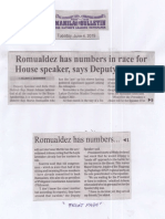 Manila Bulletin, June 4, 2019, Romualdez has numbers in race for House speakers says Deputy speaker.pdf