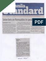 Manila Standard, June 4, 2019, Solon bets on Romualdez in speakership race.pdf