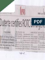 Manila Times, June 4, 2019, Duterte certifies ROTC bill urgent.pdf