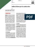 Studiosi di fama per la Scuola estiva di Filosofia della Scienza - Il Corriere Adriatico del 3 giugno 2019