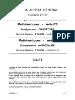 sujets Liban Maths BAC ES 2019 (obligatoire)