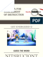 Criteria for Assessment of Instruction