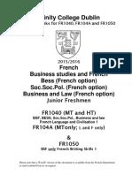 15-16 en Cours FR1040 FR104A FR1050 Handbook 15-16