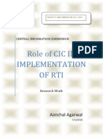 Role of Cic in Implementation of Rti by Aanchal Agarwal