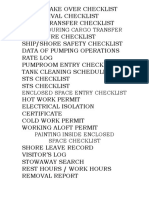 Checklist on board ship