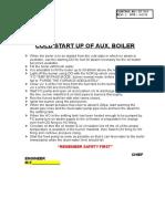 Cold Start Up of Aux. Boiler