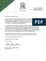 Bishops Letter Concerning Msgr. Frank Rossi