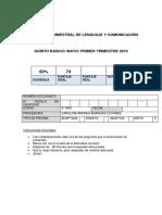 Evaluacion Trimestral Lenguaje 5to Mayo 2019