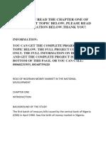 Role of Nigerian Money Market in the National Development