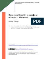 Grieco, Tomas (2014). Desestabilizacion y Pasaje Al Acto en L. Althusser
