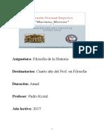Programa de Filosofía de La Historia (2017 ) - Pedro Kozul