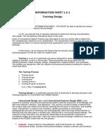 Information Sheet 1.2-1 Training Design