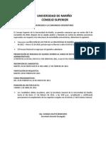 COMUNICADO A LA COMUNIDAD UNIVERSITARIA CONSEJO SUPERIOR UNIVERSIDAD DE NARIÑO