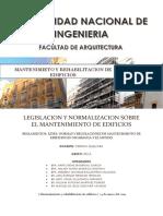 Legislacion y Normalizacion Sobre El Mantenimiento de Edificios