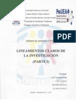 I Seminario Parte I Lineamientos Claros de La Investigación
