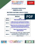 ACTIVIDADES PRÁCTICAS EMBRIOLOGÍA CIRCULATORIO