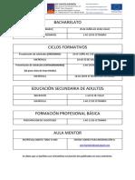 Datas de presentación de solicitudes e matrícula
