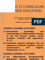 The k to 12 Curriculum Inclusive Education