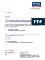 Visa Letter and Certificate of Insurance
