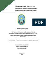 """PROPUESTA DE IMPLEMENTACIÓN DE UN SISTEMA DE GESTIÓN EN SEGURIDAD Y SALUD OCUPACIONAL BAJO LA LEY N°29783 EN UNA EMPRESA DE ALIMENTOS BALANCEADOS PARA AVES"""""""