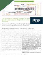 """Una aproximación al sistema voluntario de certificación de edificios denominado """"Bogotá Construcción Sostenible''"""