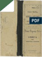 """Libreta Caja Rural de Ahorros y Préstamos del Sindicato Católico-Agrícola """"El Progreso"""" de Caudete"""
