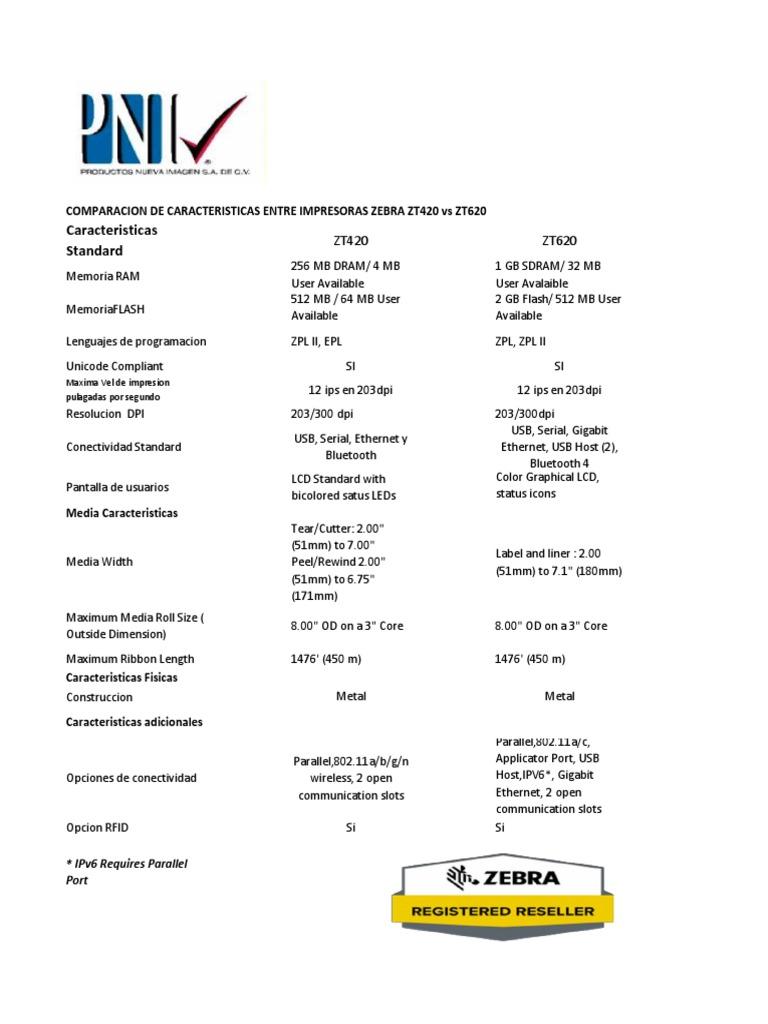 Comparativo de Impresoras Zebra ZT420 vs ZT620 pdf | Computer
