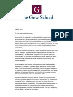 Gow School Letter