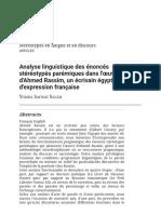 Analyse linguistique des énoncés stéréotypés parémiques dans l'œuvre d'Ahmed Rassim, un écrivain égyptien d'expression française.pdf