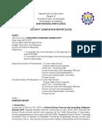 Activity Completion Report Brigada Eskwela 2019