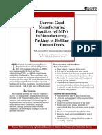 Buenas Practicas de Fabricacion Actuales Cgmps en La Fabricacion Envasado o Conservacion de Alimentos Para Consumo Humano