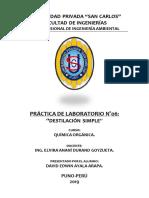 Pract- Lab N° 06 DESTILACION SIMPLE