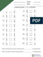 Same Denominator or Numerator Worksheet 3