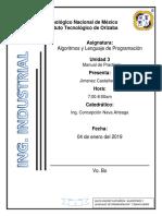 Manual de Practicas de Algoritmos Y Lenguajes de Programacion Por David Jimenez Castañeda