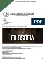 Lista de Leitura de Filosofia Para Iniciantes e Interessados - Contra Os Acadêmicos