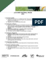 Six a Side Football Rules 2016