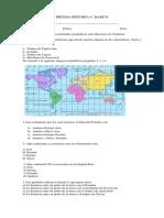 Prueba Historia 4 básico geografía