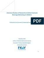 Online Food and Beverage Marketing to Children Review 2014