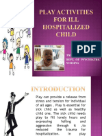 play activities for ill hospitalized child