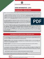 CREF Quadro Informativo 2019 Pessoa Fisica