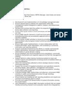 Key Roles for M&E