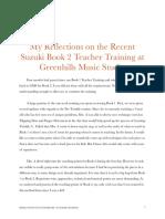 reflection on Suzuki Training