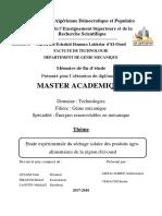 Etude Expérimentale Du Séchage Solaire Des Produits Agro-Alimentaires de La Région d'El-oued (1)