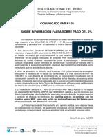 COMUNICADO PNP N° 29 - 2019