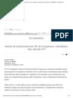 Venda de estatal deve ter OK do Congresso; subsidiária, não, decide STF - 06_06_2019 - UOL Economia