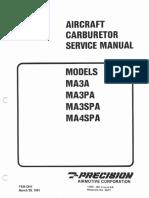 MSA Aricraft Carburetor Service Manual Models MA3A, MA3PA, MA3SPA, MA4SPA