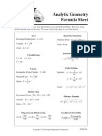 Analytic Geometry Formula Sheet 220
