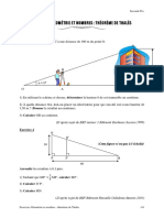 Exercices Geometrie Et Nombres Theoreme de Thales Seconde Pro