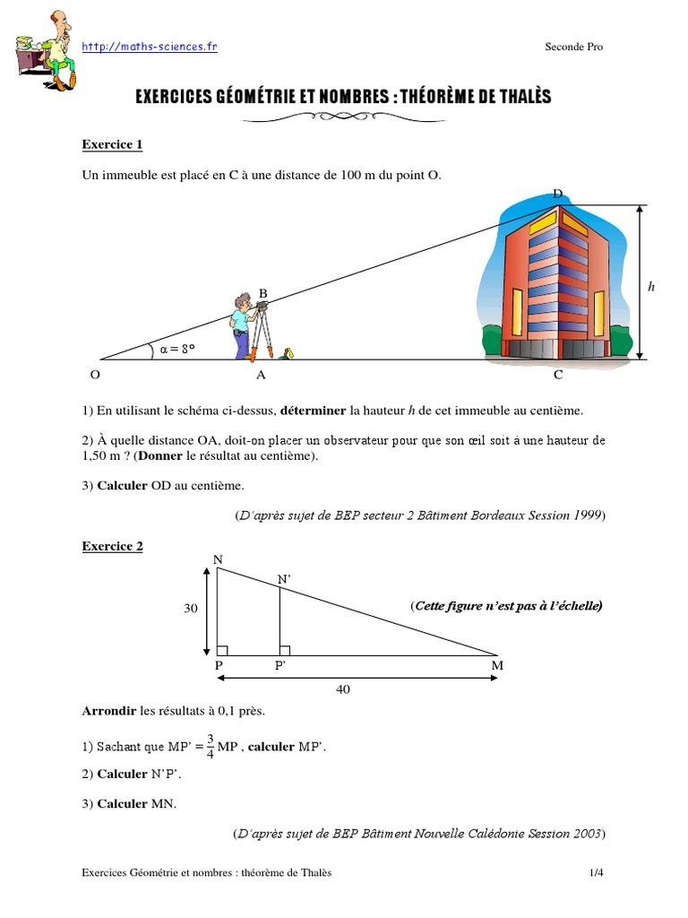 Exercices Geometrie Et Nombres Theoreme De Thales Seconde Pro Espace Geometrie