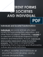Different Forms of Society and Individuals